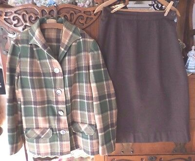 Vintage Pendleton Stadium 49er Jacket Shirt & Skirt 100% Wool Green Plaid Size S