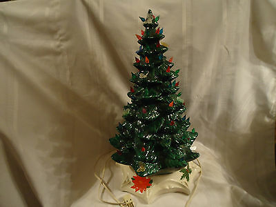 "VINTAGE 1970s 18"" CERAMIC CHRISTMAS TREE W/MULTI COLOR LIGHTS & BUTTERFLIES"