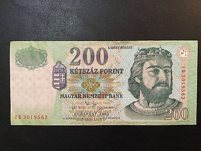 2003 Hungary Paper Money - 200 Forint Banknote !