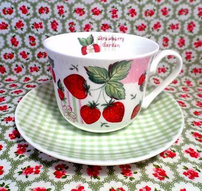 ROY KIRKHAM China STRAWBERRY GARDEN Breakfast Cup Saucer SHABBY CHIC