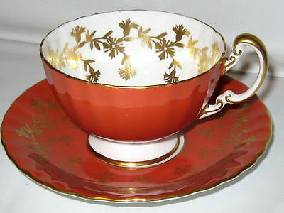 AYNSLEY GOLD CHINTZ ORANGE & GOLD TEA CUP AND SAUCER OBAN Teacup