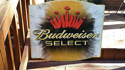 Budweiser Select Beer Sign  Logo in Brilliant Color on Embossed Tin.