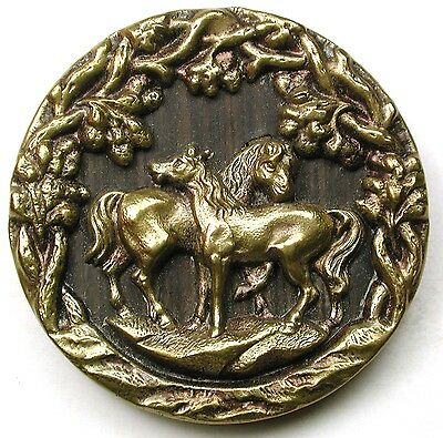 Antique Brass Button Equestrian Scene 2 Horses in Pastoral Scene -1 & 7/16""