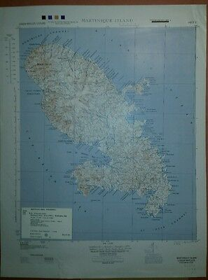 1944 US Army Map Martinique AMS E641 1:125,000 Lesser Antilles Caribbean Island