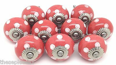 10 These Please Ceramic Door Knobs SLIGHT SECONDS Shabby Chic Coral Salmon P90
