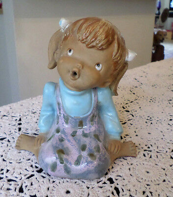Vintage ICTCI Stoneware Pottery Large Little Girl Figurine