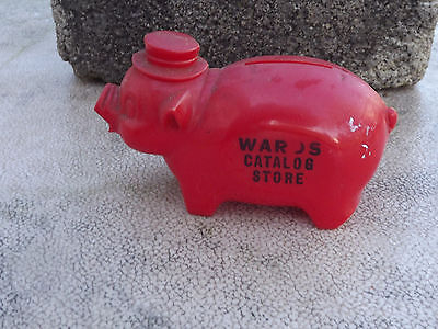 Vintage Red Plastic Piggy Bank w/Wards Catalog Store Advertising