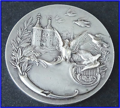 Bronze Silvered  Medal - A Castle With Birds Flying Around -In Box