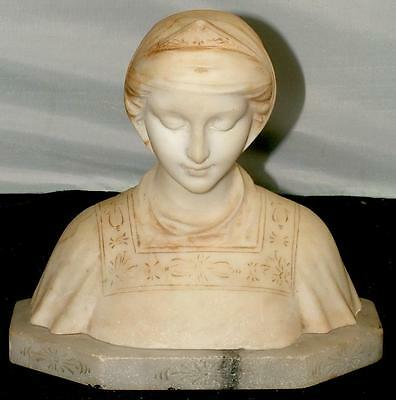Antique Italian Carved Marble Bust Renaissance Woman F. Masi C. 1890 Sculpture