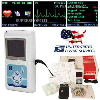 US STORE!ECG/EKG holter 24 hours Recorder&Analysis software, Dynamic,USB,TLC5000