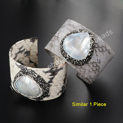 1Pcs CZ Paved Natural White Shell Snakeskin Leather Open Cuff Bangle DIY HJA426