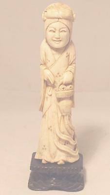 Antique Chinese Hand Carved Woman Figurine Statue Bone