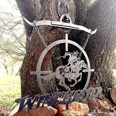 Big Iron Metal Winchester Horse Scope Sign wall art plaque hunter cabin rustic