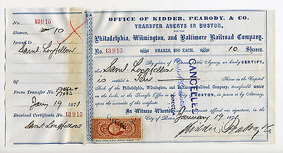 Autograph - PW&B RR Stock Certificate Signed by SAMUEL LONGFELLOW - 1871