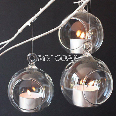 6PCS Clear Glass Hanging Bauble Tealight Candle Holder Wedding Party Decor Gift
