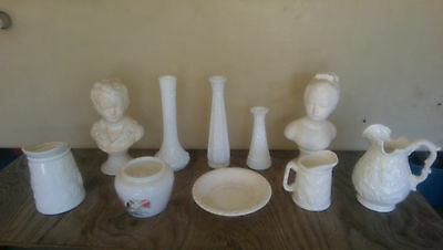 Antique / Vintage Pottery And Milk Glass