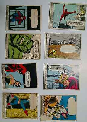 1966 Mcg Vintage Marvel Super Heroes Comics Cards Lot Of 8 Hulk Thor Spiderman +
