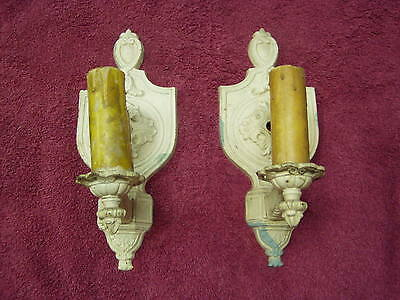 Pair 1920s Cast Iron Candle Sconces Vintage Architectural Light fixture