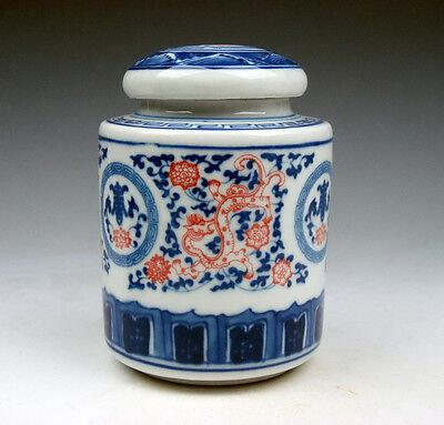 Blue&White Ox-Blood Red Dragons Flowers Hand Painted Tea Caddy Jar #11101501
