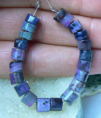 "RARE NATURAL UNTREATED AFRICAN PURPLE SUGILITE TUBE BEADs 3.75"" STRAND 39.5ctw"