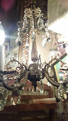 Vintage French Spanish Style Five Armed Brass Chandelier Crystals Ceiling Mount
