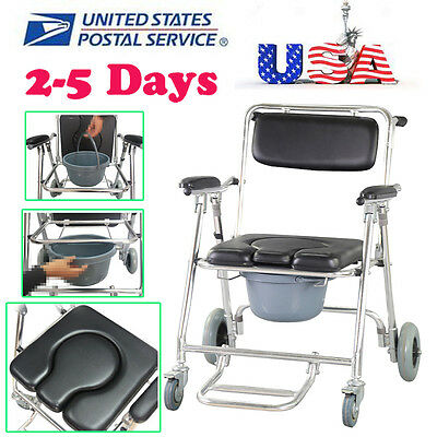USA Ship Commode Chair 4 brakes Wheels & Footrests Wheelchair Toilet Swing-away