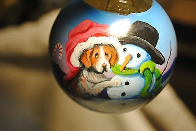 Original Painting~Brittany Spaniel~Dog~Christmas Ornament~Hand Painted~Whimsical