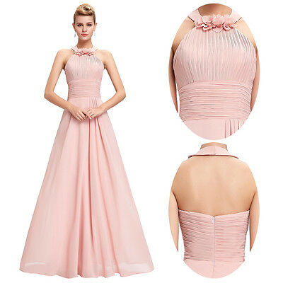 Pink Long Chiffon Bridesmaid Party Cocktail Evening Prom Dress Formal Gown Ball