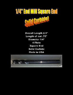 """End Mill 1/4"""" Square End 4 Flute Solid Carbide USA"""