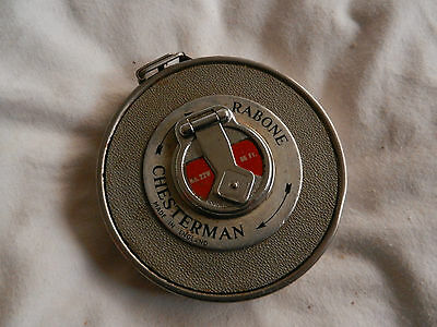 Old Vintage Tape Measure In Inches Chesterman Barone Good Working Cond
