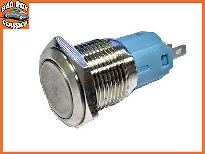 16mm 12v Interior Coche Metal botón interruptor Eje Tipo Acero Inoxidable