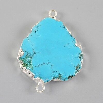 Blue Howlite Turquoise Connector Silver Plated H77892