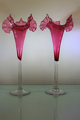 Antique Cranberry Glass Ruffelled And Wrythern Tall Glass Vases BEAUTIFUL PAIR
