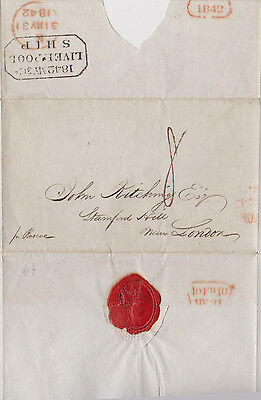 1842 Fancy Boxed Liverpool Ship Cancel On Maritime Wrapper To Stamford Hill