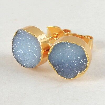 10mm Round Agate Druzy Geode Stud Earrings Gold Plated H77927