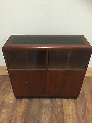 Vintage Retro Black Leather Topped Library Bookcase Display Cabinet.
