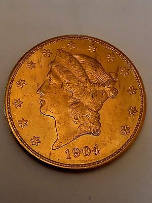 1904-s Circulated Double eagle liberty $20 gold piece