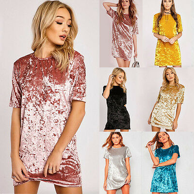Women Sexy Bodycon Velvet Dress Short Sleeve Party Cocktail Short Mini Dress