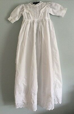 Antique Victorian baby / doll's extra long Christening dress - white cotton [d2]