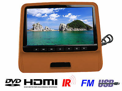 "9"" HD Leather Cover Headrest DVD Player with HDMI IR FM 8bit 32bit GAME USB"