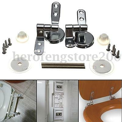 1 Set Replacement Toilet Seat Hinge Set Chrome Hinge With Fittings