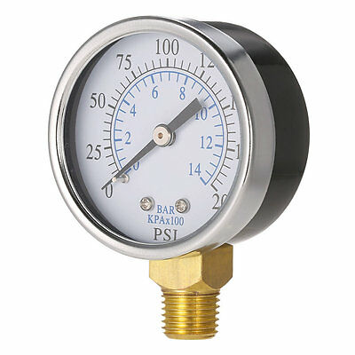 Professional Pressure Hydraulic Gauge Side Mount 1/4 Inch NPT 0-200 PSI GT