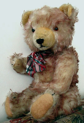"""Antique  Hermann teddy bear with cinnamon tipped mohair 16"""" 1940's Germany"""