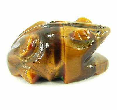 18.40 Ct Natural Tiger's Eye Gemstone Frog Figurine Stone - ZR1120