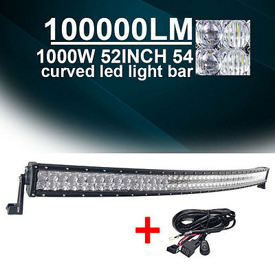 "CREE 700W 52INCH Curved LED Light Bar 5D SUV Spot Flood Car 54"" A2 + WIRING"
