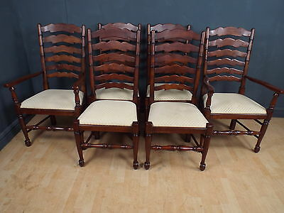 Set of Six (4+2) Solid Walnut Ladder back Dining Chairs