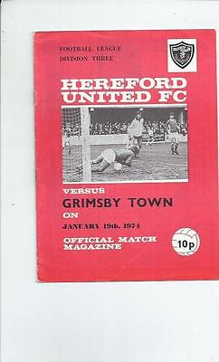 Hereford United v Grimsby Town Football Programme 1973/74