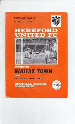 Hereford United v Halifax Town Football Programme 1974/75
