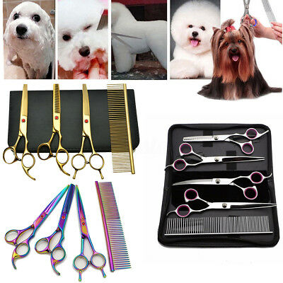 """8"""" Professional Pet Dog Cat Grooming Scissors Cutting Curved Thinning Shears Set"""