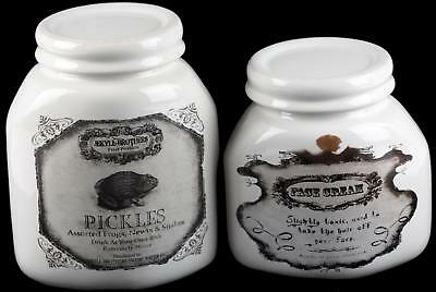 Set Of 2 White Toad Pickles / Toxic Face Cream Jars - Poison Bottle Ornament